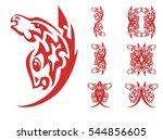 unusual red peaked symbols.... | Shutterstock .eps vector #544856605