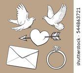 Wedding  Engagement Icon Set...