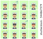 big set of airline pilot... | Shutterstock .eps vector #544867579