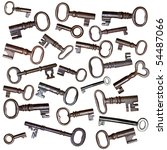 A montage of old, antique cast iron keys. - stock photo