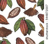 seamless pattern of cacao fruit ... | Shutterstock .eps vector #544872007