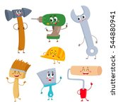 set of funny building tool... | Shutterstock .eps vector #544880941