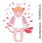 valentine's day. funny cupid... | Shutterstock .eps vector #544890121