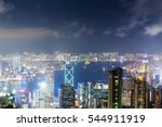 hong kong skyline during a hazy ... | Shutterstock . vector #544911919