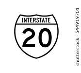 interstate highway 20 road sign.... | Shutterstock .eps vector #544919701