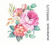 bunch of watercolor roses on... | Shutterstock . vector #544921171