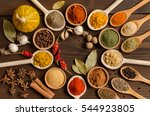 Set Of Indian Spices On Wooden...