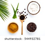 body scrub of ground coffee ... | Shutterstock . vector #544932781