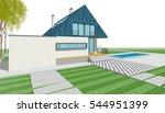 3d illustration  house sketch