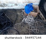 dangerous cables on floor | Shutterstock . vector #544957144
