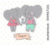 couple cute elephants fallen in ...   Shutterstock .eps vector #544967101