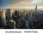 Stock photo new york city manhattan skyline aerial view with empire state and skyscrapers at sunset 54497056