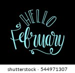 hello february. hand lettered... | Shutterstock .eps vector #544971307