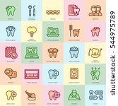 thin line dental care ... | Shutterstock .eps vector #544975789