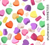 romantic seamless pattern with... | Shutterstock .eps vector #544987555
