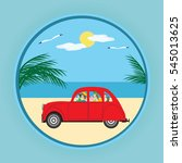 small red car family parents... | Shutterstock .eps vector #545013625