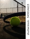 tennis ball and racket on hard... | Shutterstock . vector #545014615