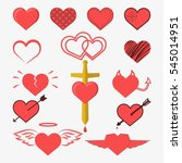 hearts set for wedding and... | Shutterstock . vector #545014951