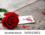 Rose  Envelope And Hearts On...
