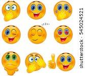 set of 3d yellow smiley... | Shutterstock .eps vector #545024521