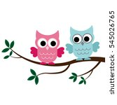 two owls sitting on the branch | Shutterstock .eps vector #545026765