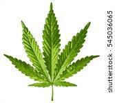 Green Cannabis Leaf On White...