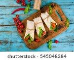 healthy lunch snack. sandwiches ... | Shutterstock . vector #545048284