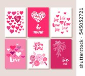 set of valentines day postcards.... | Shutterstock .eps vector #545052721
