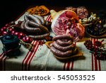 meat table with raw meats ... | Shutterstock . vector #545053525