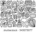 Doodles Cute Elements. Black...