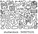doodles cute elements. black... | Shutterstock .eps vector #545075131