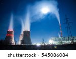 cooling towers in moon light. | Shutterstock . vector #545086084
