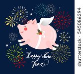 flying pig in the night with... | Shutterstock .eps vector #545086294