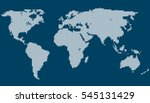dotted world map vector on blue ... | Shutterstock .eps vector #545131429