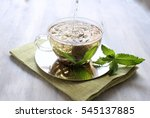green tea with mint leaf  | Shutterstock . vector #545137885