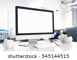 mock up devices in interior. 3d ... | Shutterstock . vector #545144515