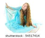 beautiful long haired girl in... | Shutterstock . vector #54517414