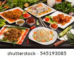 chinese food big set of meat ... | Shutterstock . vector #545193085