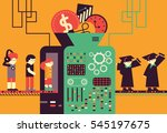 a machine makes regular people... | Shutterstock .eps vector #545197675