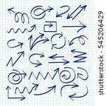 set of arrow hand drawn design... | Shutterstock .eps vector #545206429