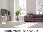 white room with sofa and winter ... | Shutterstock . vector #545264815