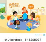 teacher asks children questions ... | Shutterstock .eps vector #545268037