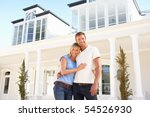 young couple standing outside...   Shutterstock . vector #54526930