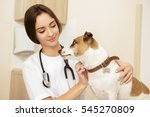 Stock photo cheerful vet shot of a young female veterinarian doctor using stethoscope listening to the 545270809