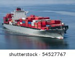a container ship arriving in... | Shutterstock . vector #54527767