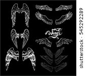 angel wings vector  lettering ... | Shutterstock .eps vector #545292289