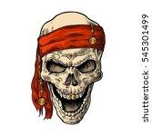 skull pirate in bandana smiling.... | Shutterstock .eps vector #545301499