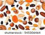 mix of dried fruits and nuts on ... | Shutterstock . vector #545306464