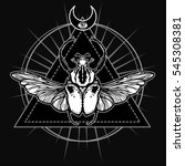winged bug. esoteric symbol ... | Shutterstock .eps vector #545308381