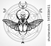 winged bug. mystical circle.... | Shutterstock .eps vector #545308411